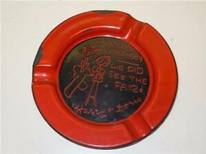Red Porcelain Personalized 1934 Chicago's World's Fair Ashtray Harry & Doris 5""