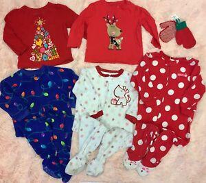 aeee09782 LOT OF 5 Girls Christmas Fleece Sleepers Romper Pajamas   T-Shirts ...
