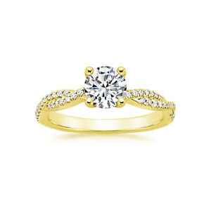 1.01 Ct Round Moissanite Engagement Brilliant Ring 18K Real Yellow Gold Size 5 6