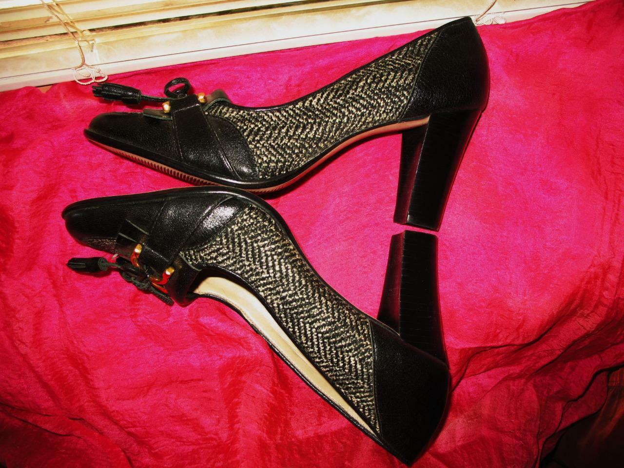 TALBOTS  Schuhe BLACK LEATHER/FABRIC PUMPS  TALBOTS SIZE 7.5 B/38  MADE IN BRAZIL b016a5