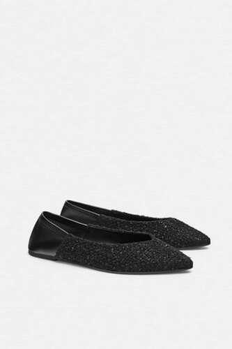 NWT Zara Black Tweed Ballet Flats Pointed Toe