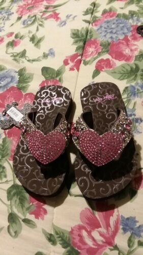 Blazin Roxx Girls Youth Size S 12//13 Pink Heart Flip Flops Sandals Rhinestone