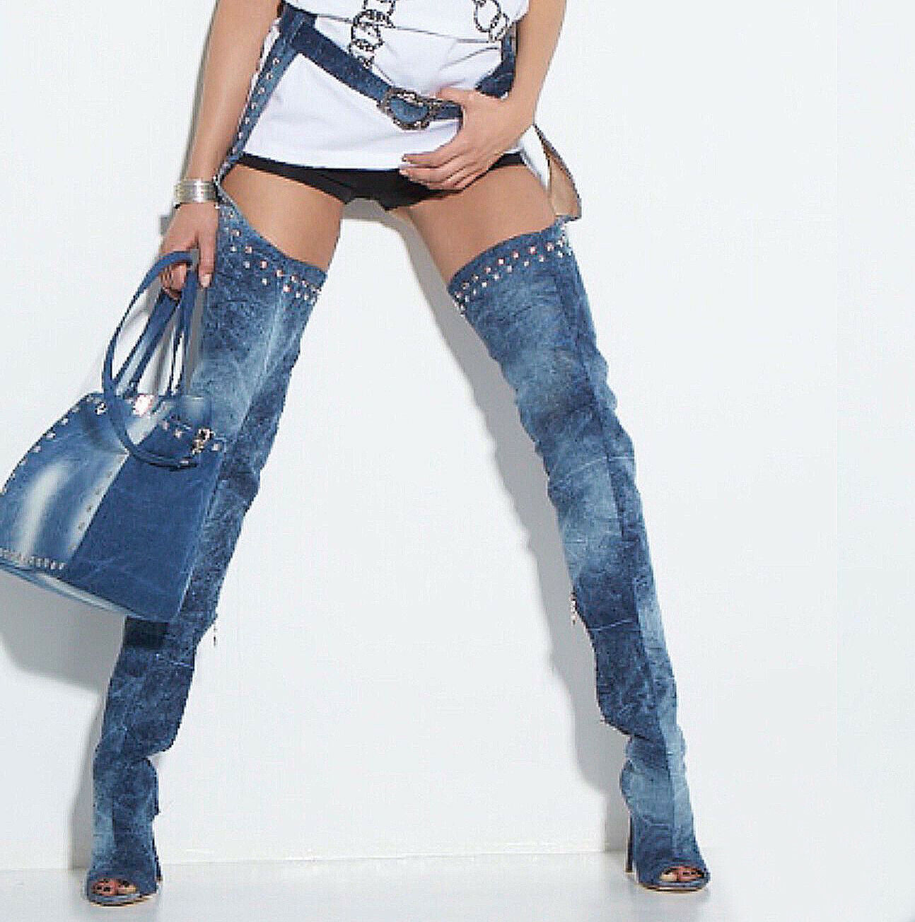 By Alina Overkneestiefel High Heels Jeans Stiefel Pfennigabsatz 36-39  V60