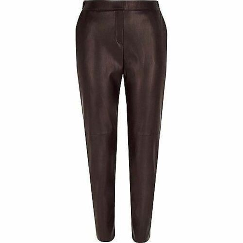 RI Dark Red Leather-Look Slim Joggers WITH DEFECT
