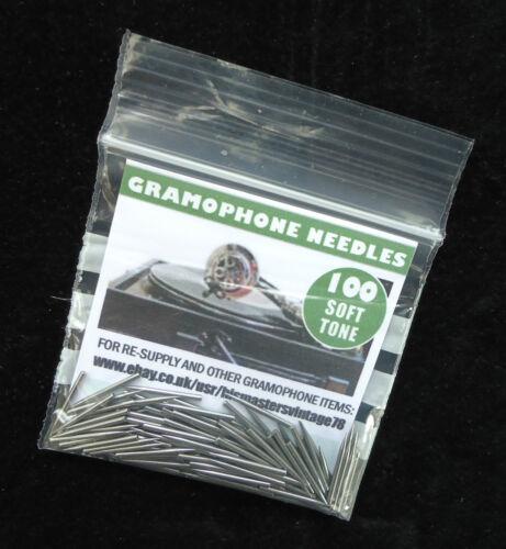 NEW BRITISH-MADE GRAMOPHONE NEEDLES PACKS OF 100 SOFT TONE