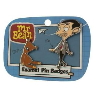 Mr Bean Two Piece Enamel Lapel Pin Badge/Brooch Set Teddy Gift Official License