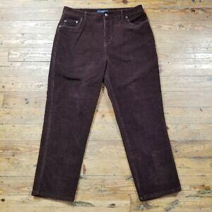 Bill-Blass-Jeans-Womens-Pants-Stretch-Brown-Corduroy-Straight-Leg-Petite-16-16P