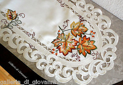 """AUTUMN GLORY 34"""" Doily Table Runner Lace Fall  Maple Leaf  Autumn Leaves"""
