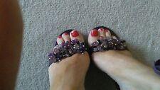 karen millien ladies purple tie shoes size 5 espadrilles beaded.