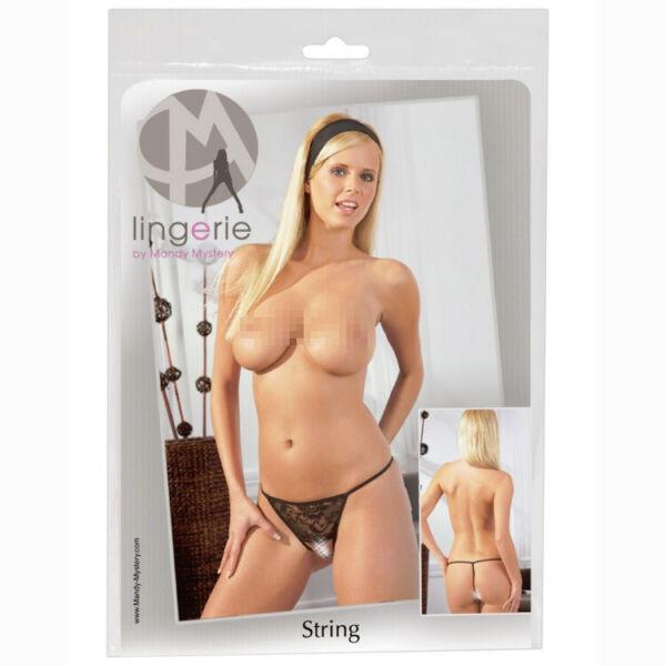 Sexy Spitze String mit Kette S M L XL Schritt offen schwarz Dessous Reizwäsche