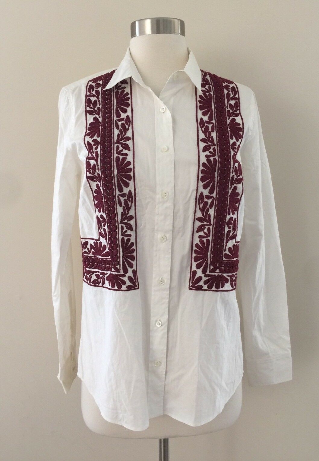 Jcrew Collection Leaf Embroiderot Dress Shirt Button Down Top Weiß Maroon 2 New