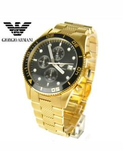 NEW-EMPORIO-ARMANI-AR5857-GOLD-STAINLESS-STEEL-BLACK-CHRONOGRAPH-MEN-039-S-WATCH