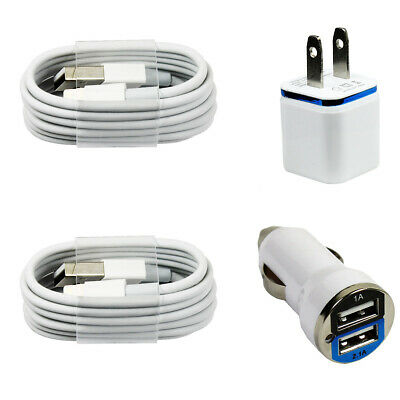 2x Charging / Sync Kits Cords Wall & Dual Output Car Charger for iPhone X 8 7 6