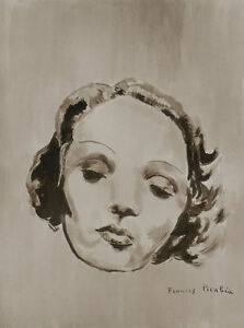 Francis-Picabia-ink-amp-acrylic-drawing-039-Marlene-Dietrich-039-ca-1940-signed-amp-COA
