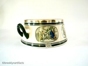 Antique Adams Porcelain Dickens Ware Handled Serving Bowl with Sterling Silver