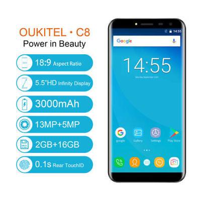 OUKITEL C8 16GB TF(SD) 64GB MT6580 Dual SIM TOUCH ID Smartphone Móvil Libre HOT