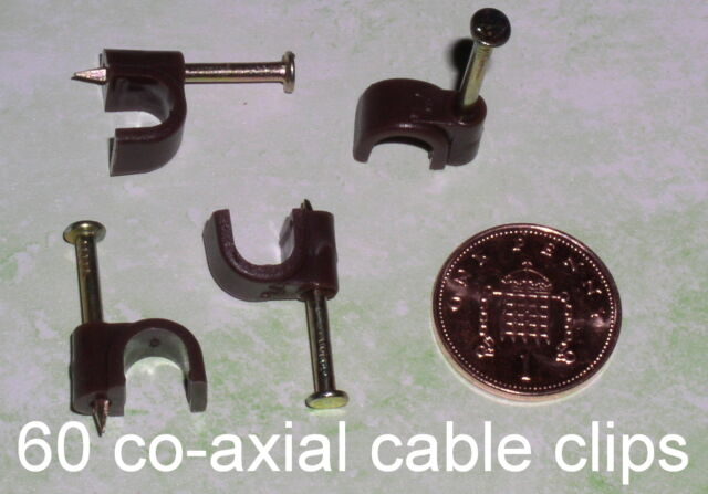 60 BROWN COAXIAL CLIPS for 7mm aerial/TV/Satellite co-axial cable and wiring