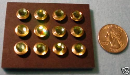 Peridot Crystal Embellished Thumb Tacs 12 Lot Push Pins