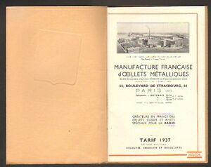 PARIS-X-CATALOGUE-USINE-d-039-IVRY-sur-SEINE-94-034-OEILLETS-METALLIQUES-034-en1937