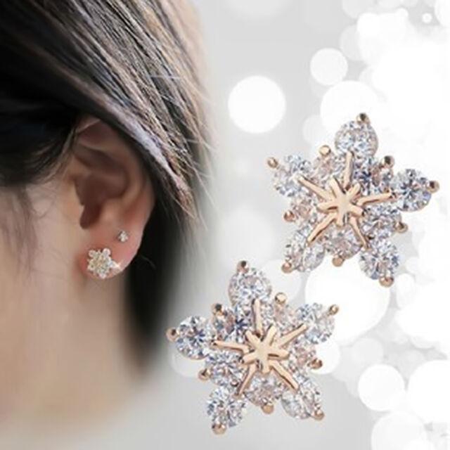 New Womens Fashion Crystal 18K Gold Plated Ear Stud Earring Snowflake Earrings