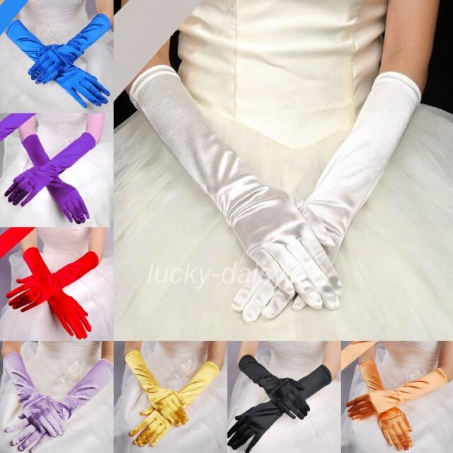 Women's Long Wedding Bridal Opera Evening Party Costume Satin Gloves 13 Colors