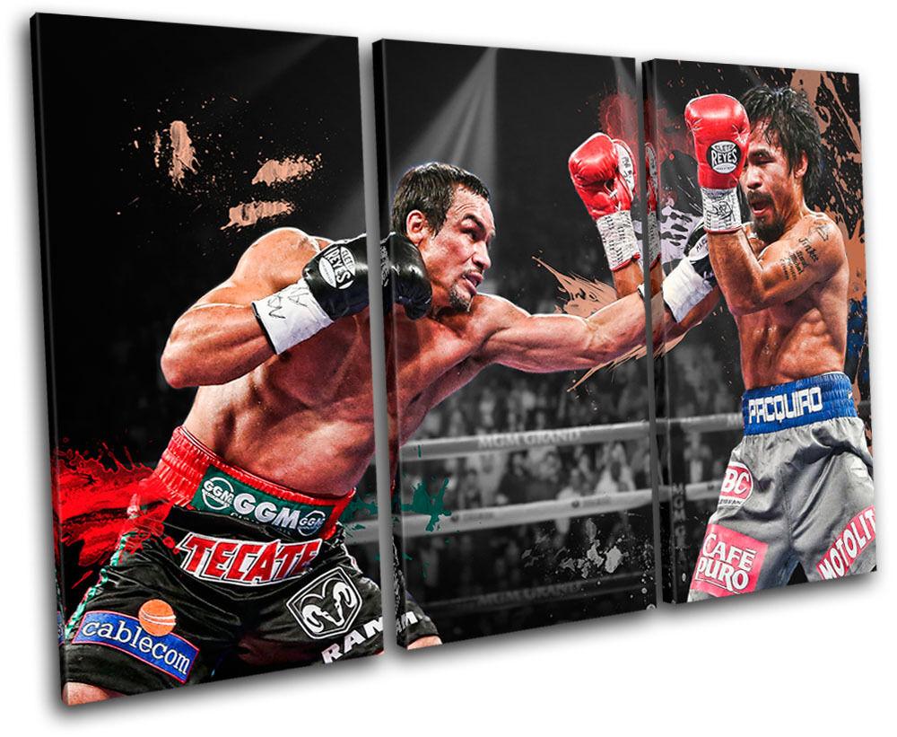 Marquez Pacquiao Boxing  Sports TREBLE Leinwand Wand Kunst Bild drucken