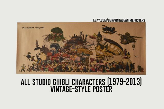 All Studio Ghibli Characters in 1 vintage poster Hayao Miyazaki Film Collection