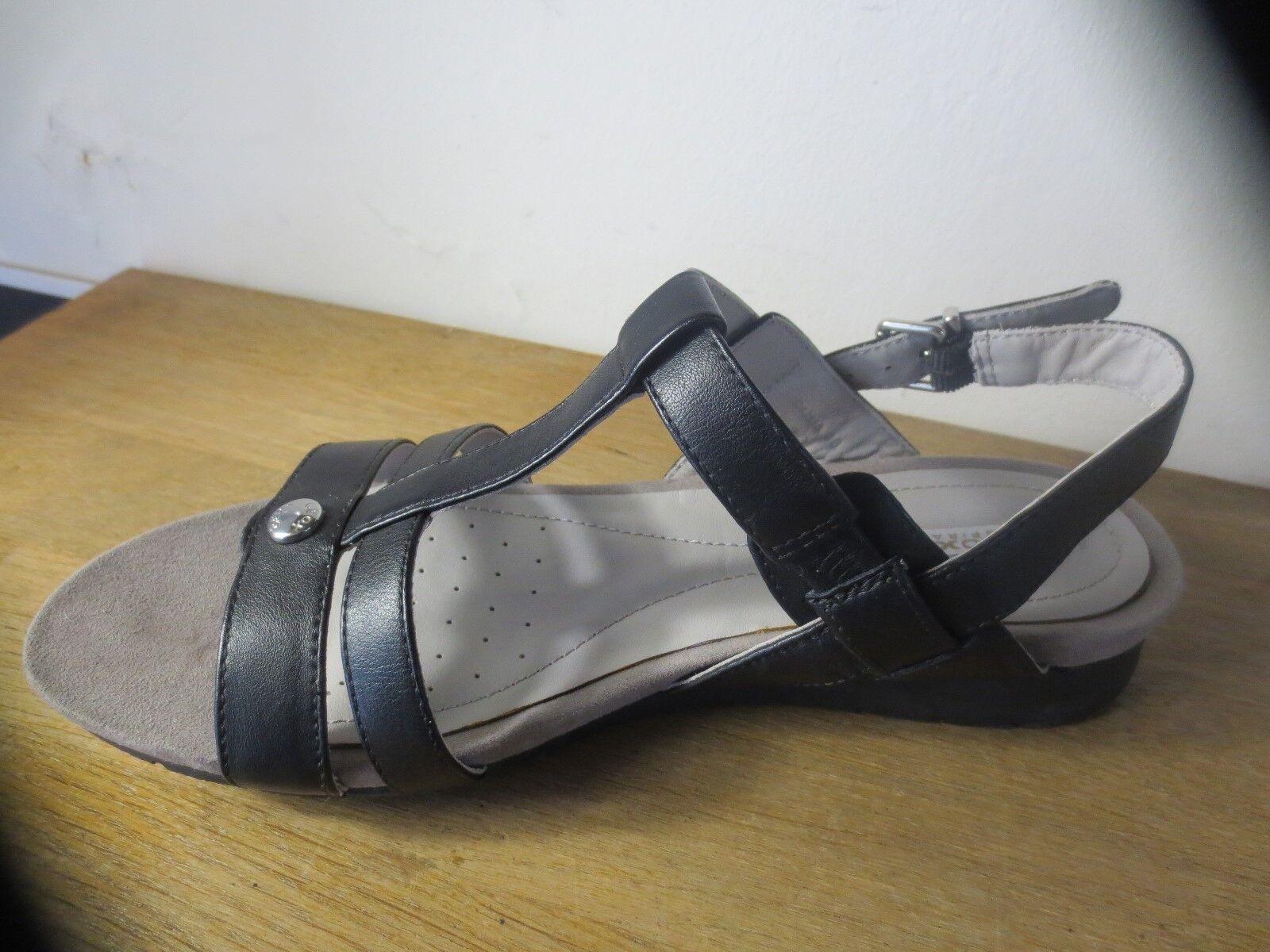 GEOX sandale cuir noir NEUVE Valeur 110E Pointures 36,36.5,37.5