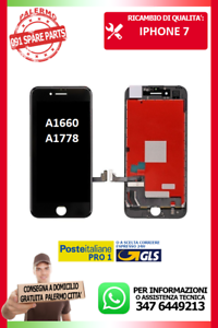 LCD-TOUCH-SCREEN-VETRO-DISPLAY-SCHERMO-PER-IPHONE-7G-7-NERO-A1660-A1778-A1779