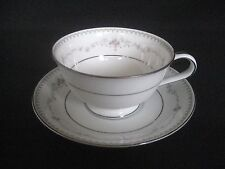 Noritake Fairmont Footed Cup and Saucer Sets #6102 Platinum Trim