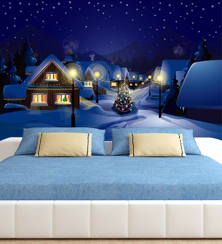 3D House I113 Christmas Wallpaper Mural Sefl-adhesive Removable Sticker Amy
