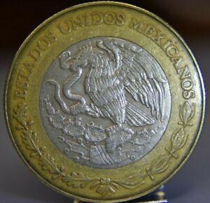 Mexico 1998 - 10 Pesos Bi-Metallic Coin National Arms  Aztec design As Pictured