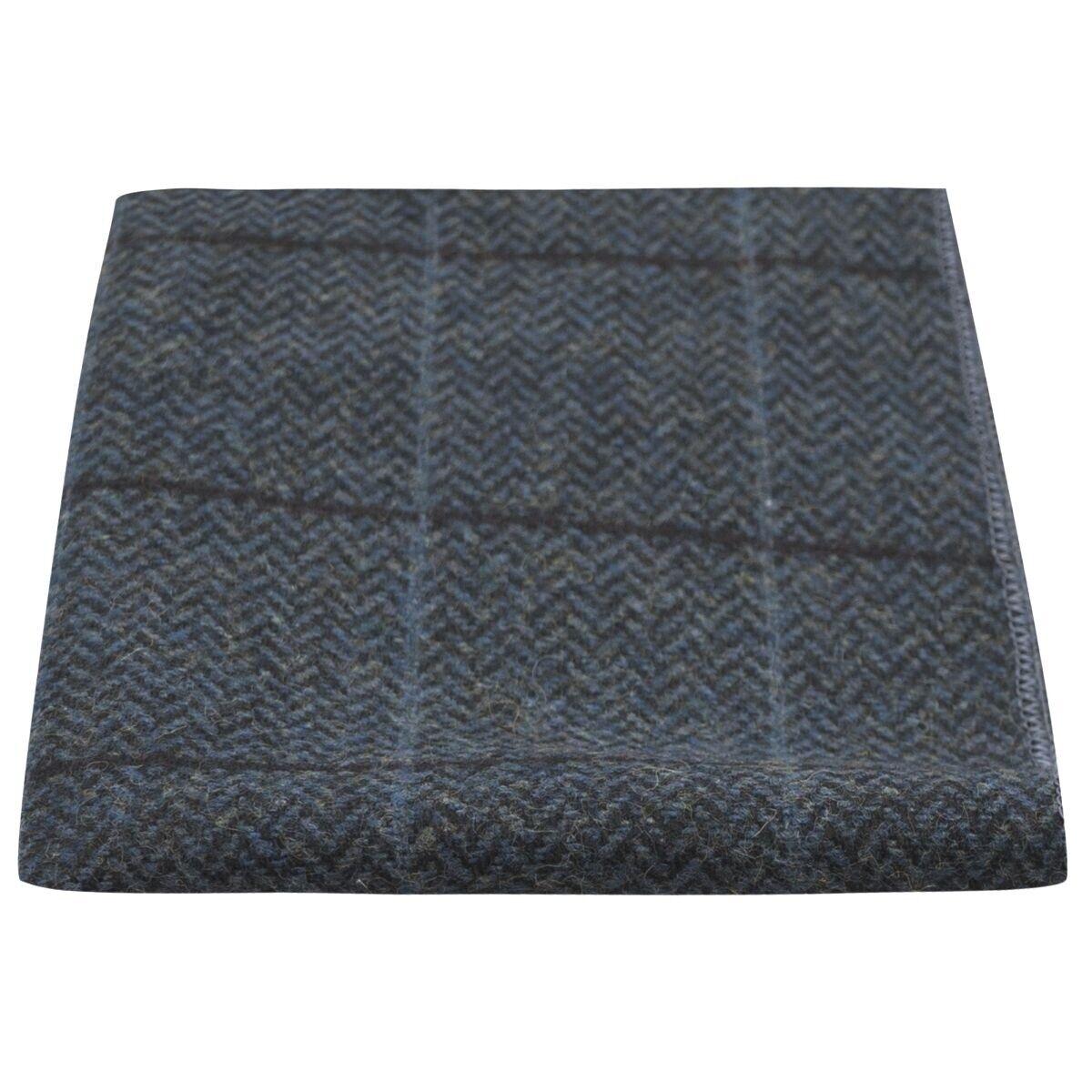 Luxury Aegean Blue Herringbone Check Pocket Square, Handkerchief, Tweed
