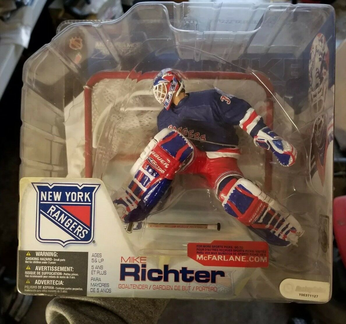 MCFARLANE NHL 4 MIKE RICHTER  CHASE VARIANT blueE JERSEY NY RANGERS  Rare var