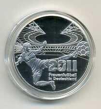Medaille zu den Deutschen 10 Euro Münzen Frauenfußball WM 2011 versilbert M_559