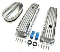 58-86 Chevy Polished Aluminum Finned Valve Covers & 12 Air Cleaner Kit Sbc 350