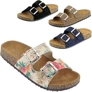 8457e44ba8af New Women Open Toe Double Buckle Strap Slide Flat Cork Platform ...