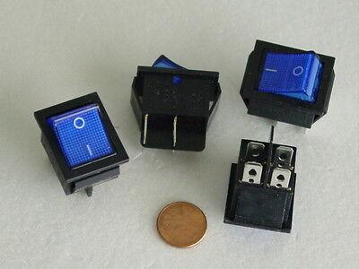 ROCKER SWITCH - LARGE RECTANGLE -- ILLUM - ON/OFF- DPST 4  PIN - BLUE - 15 PK