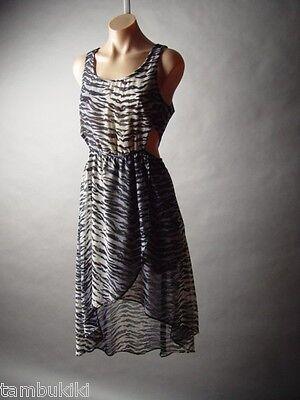 Sale Tiger Animal Stripe Pattern Chiffon High Low Hem Tulip Wrap Skirt Dress M