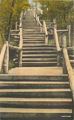 1930s Logs Steps Deer Park Ottawa Illinois Albertype Hand ...