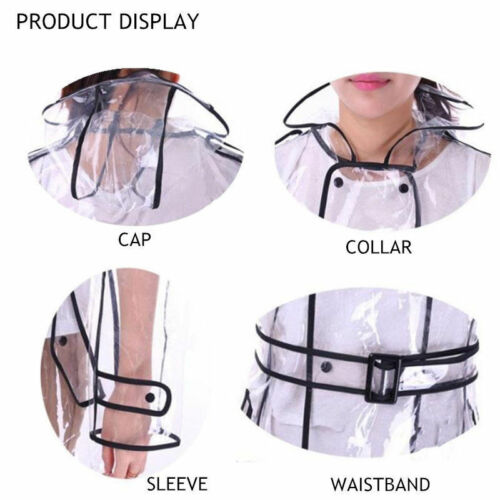 Women Clear Raincoat Outwear Belted Trench Coat Double Breasted Hooded Jackets