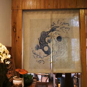 Japanischer-Druck-Tuer-Vorhang-Fisch-Taijitu-Feng-Shui-Schlafzimmer-Kueche-Dekor