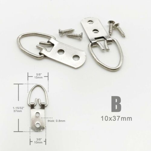 25//50pcs Triangle D Ring Strap Hanger Picture /& Canvas Frame Hanging With Screws