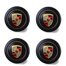Set Of New Genuine Porsche Fuch Fuchs Colour Crested Alloy Wheel Centre Caps