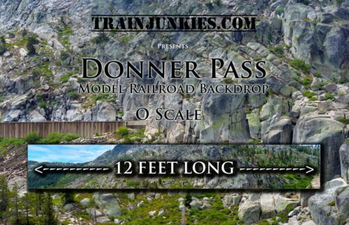 "Train Junkies O Scale ""Donner Pass"" Model Railroad Backdrop 24""x144"""