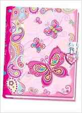 Pecoware Butterfly Girls Kids Diary Notebook with Lock Free Shipping .