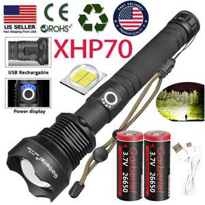 990000Lumen Zoom XHP70.2 Flashlight 5Mode LED 26650 USB Rechargeable Torch Light
