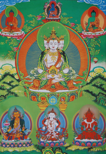 "50/"" EMBROIDERED BROCADE TIBETAN THANGKA SCROLL BRAHMA VAIROCANA BUDDHA OF SUN="