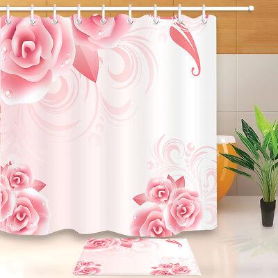 Waterproof Fabric Blooming Pink Flowers Shower Curtain Liner Bathroom Mat Hooks