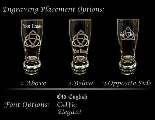 Free Personalized Engraving Irish Shamrock Clear Stemless Wine Glass Set of 4